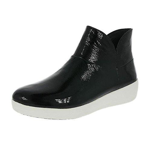 Fitflop Ii Supermod In Pelle Alla Caviglia Boot Nero Brevetto UK4 Black Patent