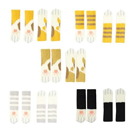 VORCOOL 20 Teile/Paket Stuhl Socken Knit Bodenschoner Rutschfeste Möbelbezüge mit Katze Bein Stickerei