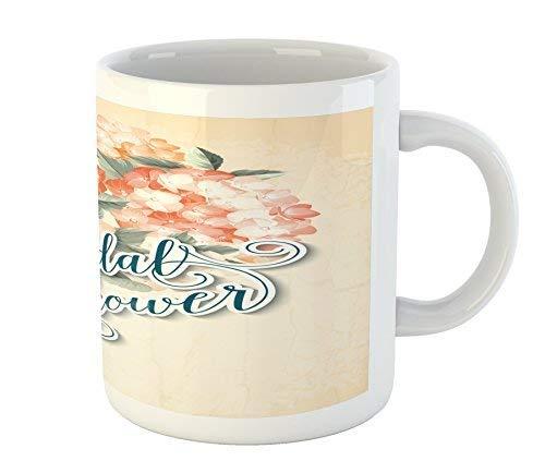 Bridal Shower Mug Shabby Chic Romantic Design Hydrangea Flower Wedding Art Printed Ceramic Coffee Mug Water Tea Drinks Cup (Shower Chic Shabby Bridal)