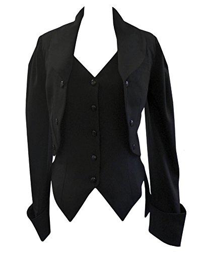 Schwarz (Fishtail Mock Butlers Jacket) viktorianisch Jacke mit Schnürung. Gr 54/56 (Bolero Mock)