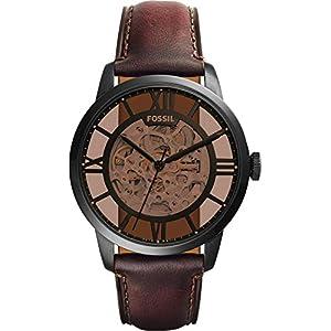 Fossil Herren Analog Mechanik Uhr mit Leder Armband ME3098