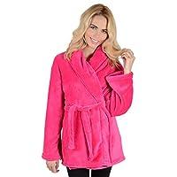 Autumn Faith Ladies Hot Pink Fleece Mini Short Bath Robe Housecoat Dressing Gown - Large