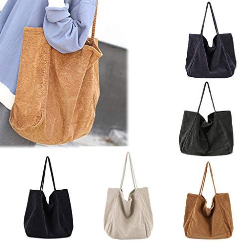 AMUSTER Damen Cord Handtasche Schultertasche Tote Geldbörse Lässig Einkaufstasche Mode Große Kapazität Umhängetasche -
