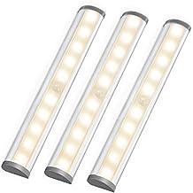 LE Luces nocturnas con sensor, barras LED para armario, a pilas, 10 LED blanco cálido, pack de 3