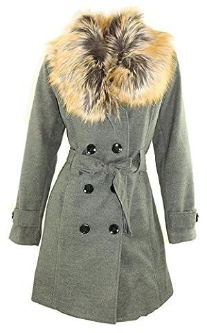 #986 Damen Wollmantel Winter Mantel Trenchcoat Wintermantel Fellkragen versch. Größen