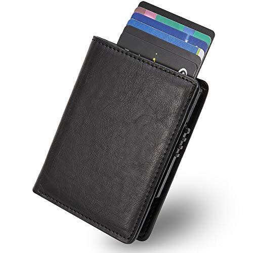 Kartenetui mit RFID Schutz - Kreditkartenetui mit Geldklammer - Kreditkarten etuis Geldbeutel - Leder Geldbörse Portmonee - Slim Wallet Schwarz