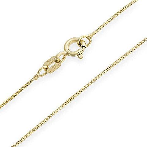 Thin 14K Italian Yellow Gold Box Chain Necklace 10