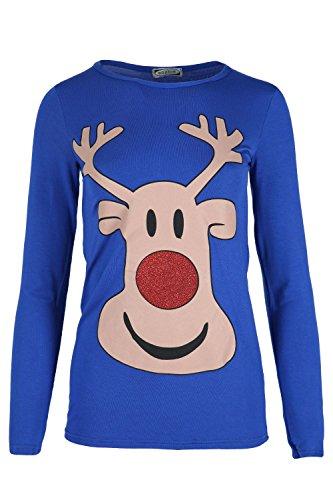 Fashion Star Womens Xmas T Shirts Ladies Reindeer Glitter Nose Minion Snowman Long Sleeve Top