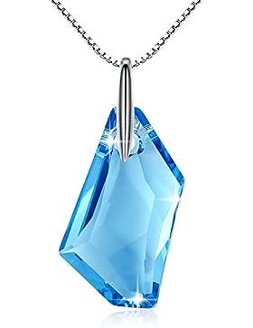 GoSparking Aquamarine Blue Crystal Sterling Silber Halskette mit österreichischen Kristall für Frauen
