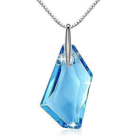 GoSparking Aquamarine di cristallo blu Sterling Silver Ciondolo Collana con cristallo austriaca per le donne