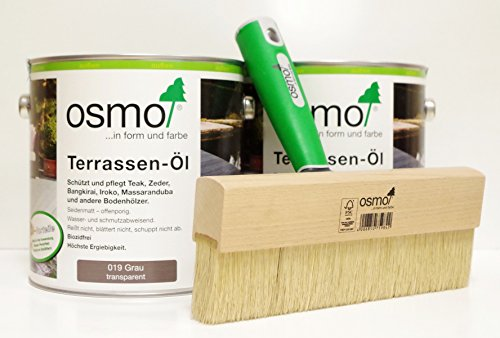 OSMO AB.Bauconcept GbR© Kombiangebot Terrassen-Öl 019 Grau 5 Liter Fußbodenstreichbürste 220 mm