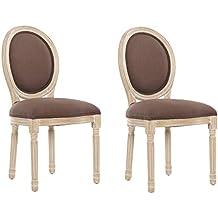 INSIDE Lot De 2 Chaises Medaillon Versailles Style Louis XVI Lin Marron