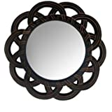 Happie Shopping Wooden MDF Decorative Hand Carved Wall Mirror