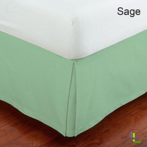 RoyalLinens Set 100% ägyptische Baumwolle elegant Finish 1Box Bundfaltenhose Bettvolant massiv (Drop Länge: 63,5cm), Baumwolle, Sage Solid, UK_Single