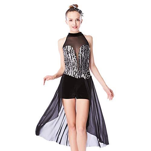 MiDee Illusion Deep-V Mock Hals Zwei Drittel Rock Lyrisch Tanzen Kleid (SC, ()