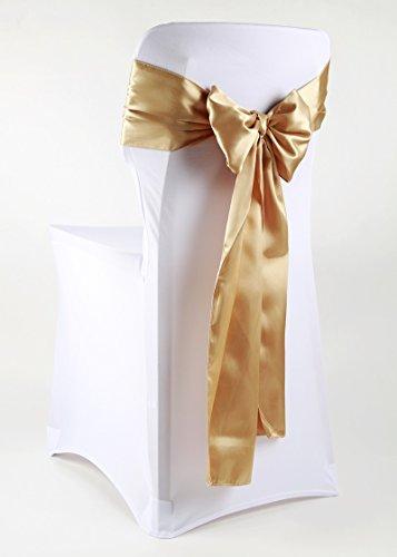 event-kauf Satin Stuhlschleifen/Tischläufer Satinschleifen Stuhlhussen-Schleife glänzend 100 Stück(Gold,) -