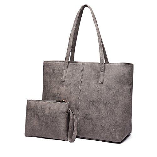 Miss Lulu -Retrò 2 pezzi Set retrò Tote bag e borsa a tracolla Borsa in Pelle Sintetica per donna Grigio