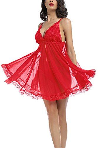Tyhbelle Damen Reizwäsche Nachtkleid Reizwäsche Tief V mit G-string Nachtmäntel Nachthemd (XXL, Rot) - 5