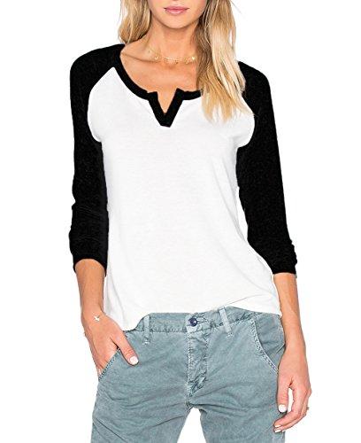 Damen Schwarz Langarm V Ausschnitt Kontrast Tee Shirt Oberteil Blusen Top (EU 36/M, Schwarz)