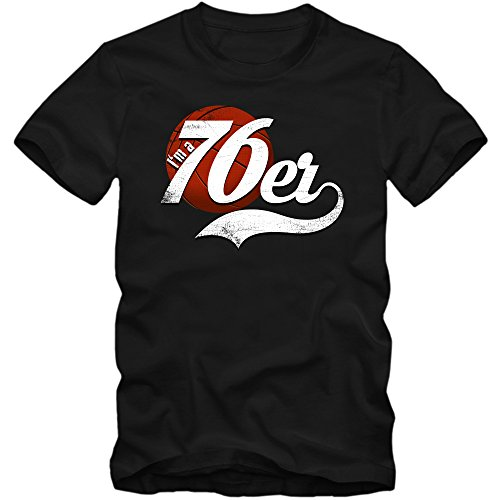 True 76er #4 T-Shirt Herren Basketball Play Offs Trikot USA Fanshirt Tee, Farbe:Schwarz (Deep Black L190);Größe:L -