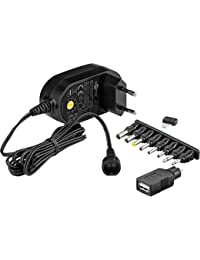 Goobay 59031 - Fuente de alimentación Universal 600 mAh y 8 enchufes adaptadores más USB, Negro