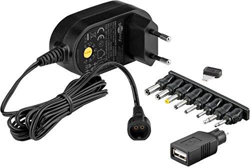 Goobay 59031 Universal Netzteil 600mA 3V / 4,5V / 5V / 6V / 7,5V / 9V / 12V inkl. 8 Adapterstecker plus USB