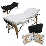 Vivezen  Table de massage 13 cm pliante 3 zones en bois avec panneau Reiki + Accessoires et housse de transport - 2 coloris - Norme CE