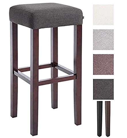 CLP Sturdy wooden bar stool JUDY with fabric cover, seat height 80 cm Wood Colour cappuccino, Seat Colour dark grey