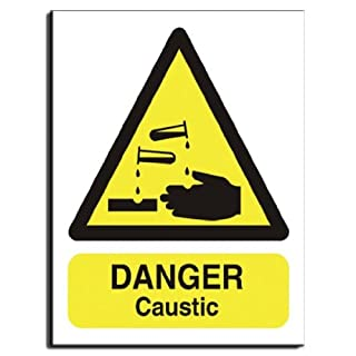 Danger Caustic Sign - Semi Rigid Plastic - 200x250mm(WA-026-RE)