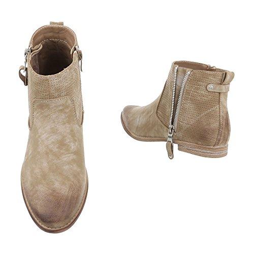 Chelsea Boots Damenschuhe Chelsea Boots Blockabsatz Blockabsatz Reißverschluss Ital-Design Stiefeletten Hellbraun