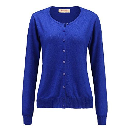 Panreddy Women's Wool Cashmere Classic Cardigan Sweater XL Royalblue -