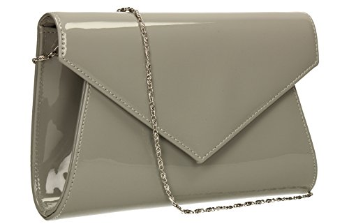 Chrissy-Sandalo da donna, in pelle verniciata per Night Out, con pochette Celebrity SWANKYSWANS Grigio (grigio)