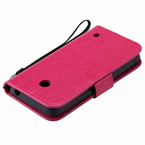 Custodia Microsoft Lumia 635 Cover Case, Ougger Fortunato Foglia Stampa Portafoglio PU Pelle Magnetico Stand Morbido Silicone Flip Bumper Protettivo Gomma Shell Borsa Custodie con Slot per Schede (Ros Rosa