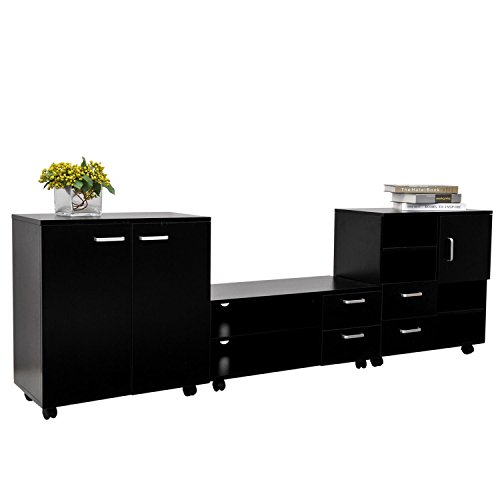 homcom-living-room-mobile-3-piece-trio-furniture-set-tv-cabinet-besides-storage-chest-black-new