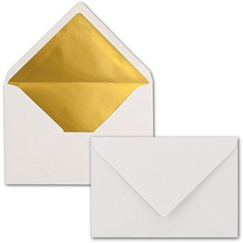 Kuverts in Weiß | 50 Stück | Brief-Umschläge in DIN C6 Format | Naßklebung mit Gummierung | matte Oberfläche & Gold-Metallic Fütterung | formstabile Post-Umschläge für Weihnachten & festliche Anlässe | ohne Fenster