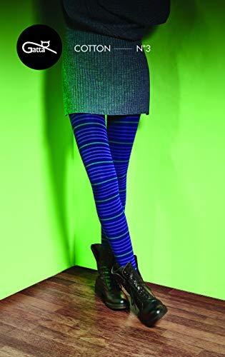 Gatta blaue Strickstrumpfhose aus Baumwolle mit Muster (G88716-03) - hoher Baumwollanteil - gemustete Baumwollstrumpfhose gestreift bunt - Größe 3-M - Blau