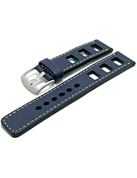 Meyhofer EASY-CLICK Uhrenarmband Brega 24mm dunkelblau Leder glatt Racing-Optik helle Naht My2pasl0001/24mm/dblau/hN