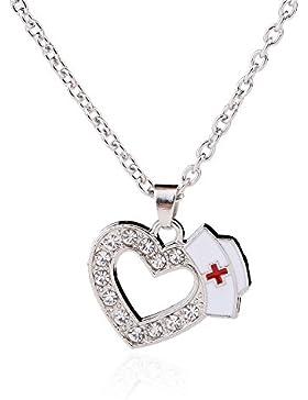 Krankenschwester Cap-Charme-Kristallsteine Herzanhänger Ketten Metall medizinische Zeichen weißen Emaille-Rot-Kreuz-Schmuck...