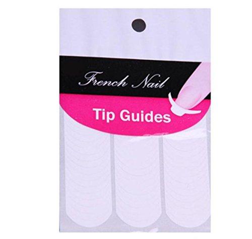 Susenstone 10 Feuilles Nail Art Français Conseils Stickers Forme Fringe Guides 96pcs Chaque Fiche Bricolage