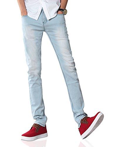 Demon&Hunter Hommes Moulant Bleu Jeans S8L08 Bleu clair