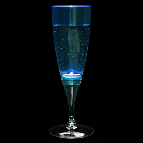Flüssigkeit Aktiviert blinkende Champagner Flöten Inhalt: 178g/180ml-LED Champagner Gläser (Champagner Gläser Led)