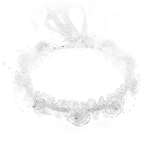 bluelans® Enfants Filles perles ruban dentelle fleur bandeau bandeau floral pour Festival Mariage