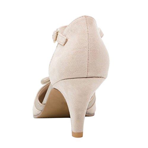 NANCY JAYJII - Femmes - Escarpins - Cuir véritable - Bride de cheville - Plusieurs coloris - Talon Kitten-Heel - Bout pointu fermé Blanc