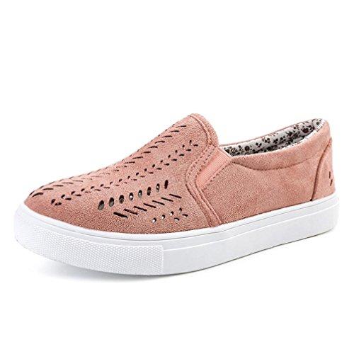 Winwintom scarpe, scarpa estiva fitness sandali piatti da donna scava fuori punta rotonda plateau tacco piatto slip on casual basse mocassini donna in pelle scamosciata (42, rosa)