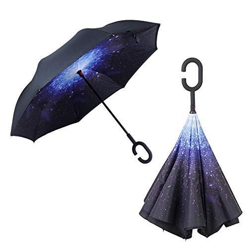 Parapluie double couche pliable anti-vent anti-UV pour la voiture en plein air C Blauer Sternenhimmel