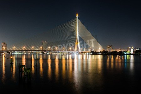 "Leinwand-Bild 140 x 90 cm: ""Rama Eight Bridge in Bangkok"", Bild auf Leinwand"