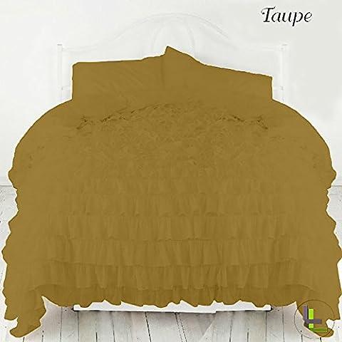 600TC 100% cotone egiziano, finitura elegante 3pcs Ruffle Duvet Set