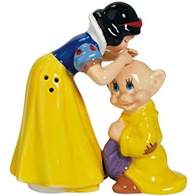 Westland Giftware Snow White Kissing Dopey Magnetic Ceramic Salt and Pepper Shaker Set, 4.25-Inch by Disney