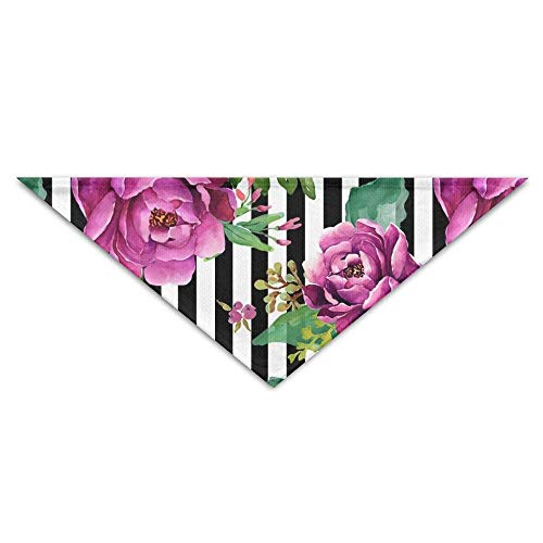 Sdltkhy Pink Rose On Black White Stripes Triangle Pet Scarf Dog Bandana Pet Collars Dog Cat - Birthday (Griechische Kostüme Muster)