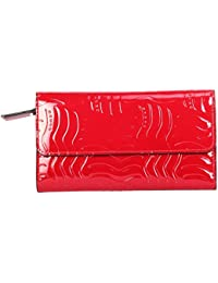 Cross Women's 100% Genuine Leather Bifold Flap Zip Wallet with Credit Card Slot - Charol Range - Red(AC518082-1)